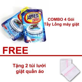 COMBO 4 Gói Bột tẩy vệ sinh làm sạch lồng máy giặt Hàn Quốc - Tặng2 túi lưới giặt quần áo