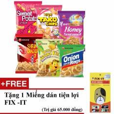 Giá Niêm Yết Combo 6 gói bánh snack chuối, hành, khoai lang, tako, tôm cay, mật ong nhập khẩu Hàn Quốc + Tặng miếng dán đa năng fit-it