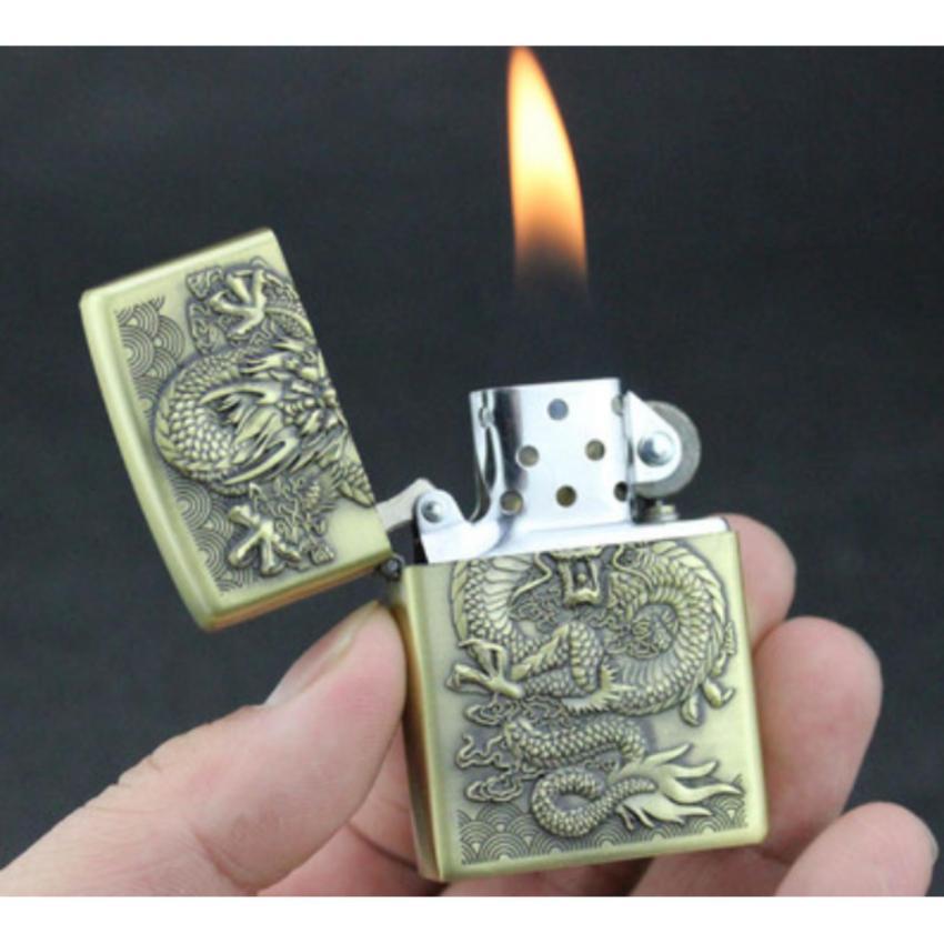 Combo Bật lửa (Hộp Quẹt) Zippo Đồng Khắc 3D Hình Hoa Hồng Z2 + Xăng và Tẩu Lọc Thuốc