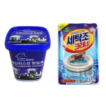 Combo Túi bột vệ sinh lồng máy giặt Nhật Bản & Kem tẩy rửa nhàbếp