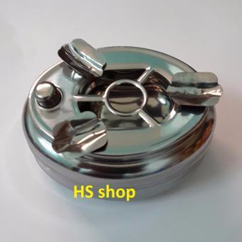 Gạt tàn thuốc lá Inox (Nhấn nút đóng mở 2 ngăn) -NPP HS shop