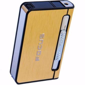 Hộp đựng thuốc lá kèm bật lửa khò 2in1 in chữ nổi F641 – Vàng