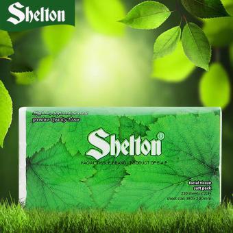 Khăn Soft Pack Shelton Nền Xanh 250 tờ x 2 lớp, 190mm x 200mm