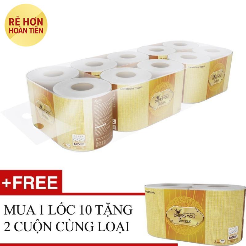 Nơi bán Lốc 10 cuộn giấy vệ sinh - Bless You Lamour + Tặng 2 cuộn cùng loại
