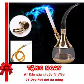 Tẩu lọc thuốc lá đa năng F142 (Vàng) + Tặng ngay Đầu Cắm Thuốc LáĐiếu và Dây Hút Dài