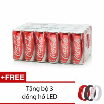 Thùng 24 lon Coca-Cola 330ml tặng đồng hồ 3 màu