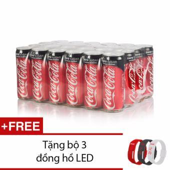 Thùng 24 lon Coca-Cola Zero 330ml tặng đồng hồ 3 màu