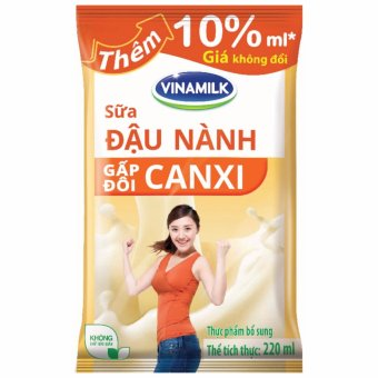 Thùng 48 Bịch Sữa đậu nành Vinamilk Gấp đôi Canxi 220ml