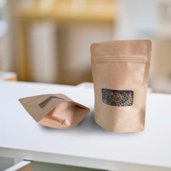 Túi giấy Kraft nâu không in Zipper có cửa sổ 12x17cm Nâu (ĐVT Kg)