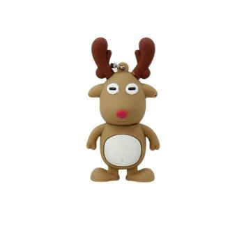 1PCS Plastic Cute Creative USB 2.0Flash Drives Red16G David's deer - intl