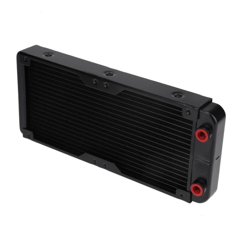 240mm 18 Tubes G4/1 Aluminum PC Motorcycle Water Cooling Radiator Heat Sink (Black) - intl