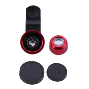 3 in 1 Fish Eye+ Wide Angle+ Macro Camera Lens Kit for Phone(Red) -intl