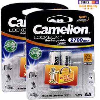 4 Pin Sạc AA Camelion LockBox Rechargeable 2700mAh (Trắng)
