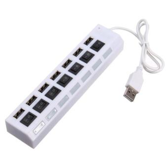 7 Ports USB 2.0 External HUB Adapter Blue LEDindicatorPlug&PlayWhite - intl