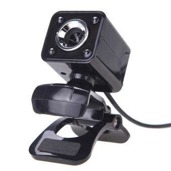A862 HD Night Vision Cam Clip-on Web Camera 4 LED 360Rotation(Black) - intl