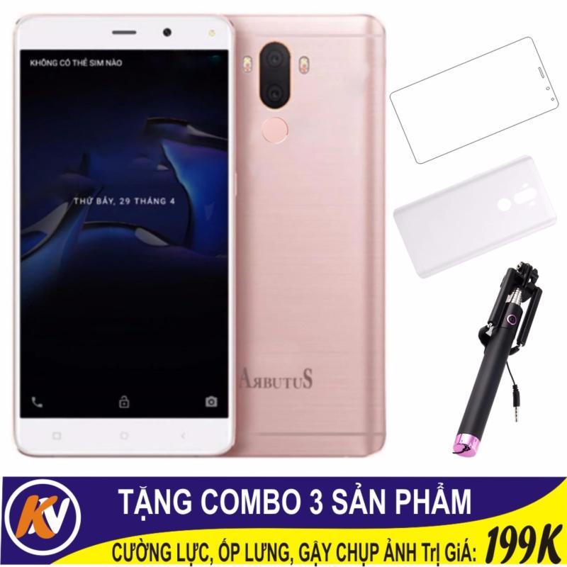 Arbutus Max 7S 16GB + Cường lực + Ốp lưng Kim Nhung (Hồng) - Hàng nhập khẩu + Loa nghe nhạc 3 in 1