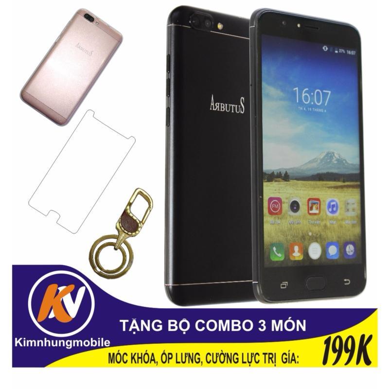 Arbutus Max Plus 16GB + Cường lực + Ốp lưng Kim Nhung (Đen) - Hàng nhập khẩu + Móc khóa cao cấp