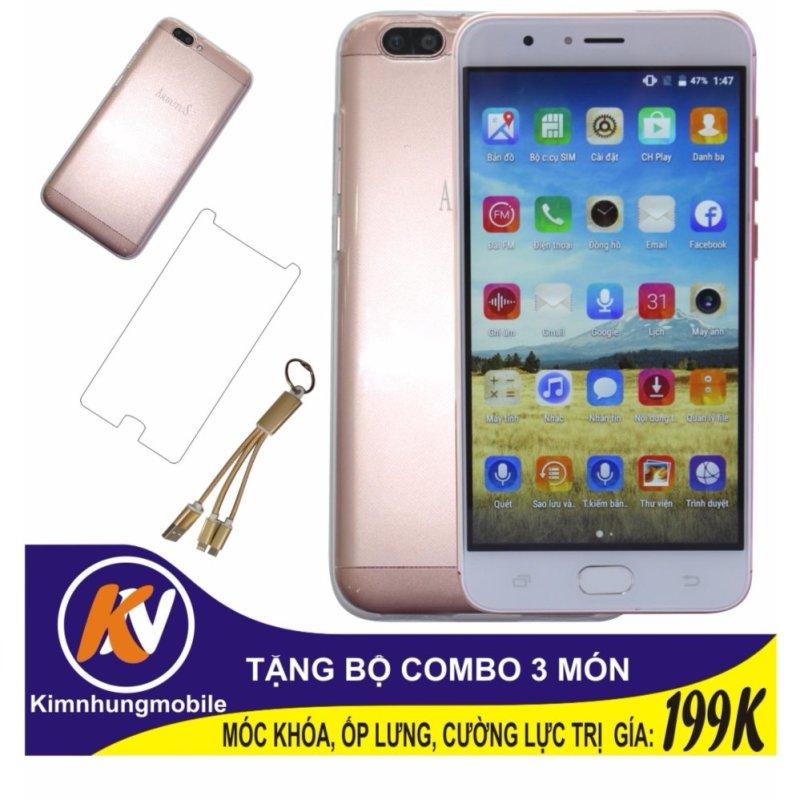 Arbutus Max Plus 16GB + Cường lực + Ốp lưng Kim Nhung (Hồng) - Hàng nhập khẩu + Móc khóa 3 đầu