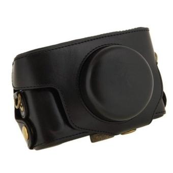 Black Camera Case Bag Leather Case Cover for DigitalCameraPentaxMX1 - intl