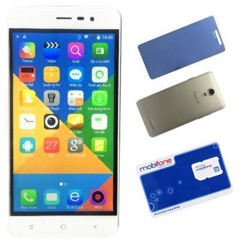 Bộ 1 Arbutus Ar5 8GB 2 Sim (Trắng) + 1 Kính cường lực + 1 Bao da + 1 Sim - Hàng nhập khẩu