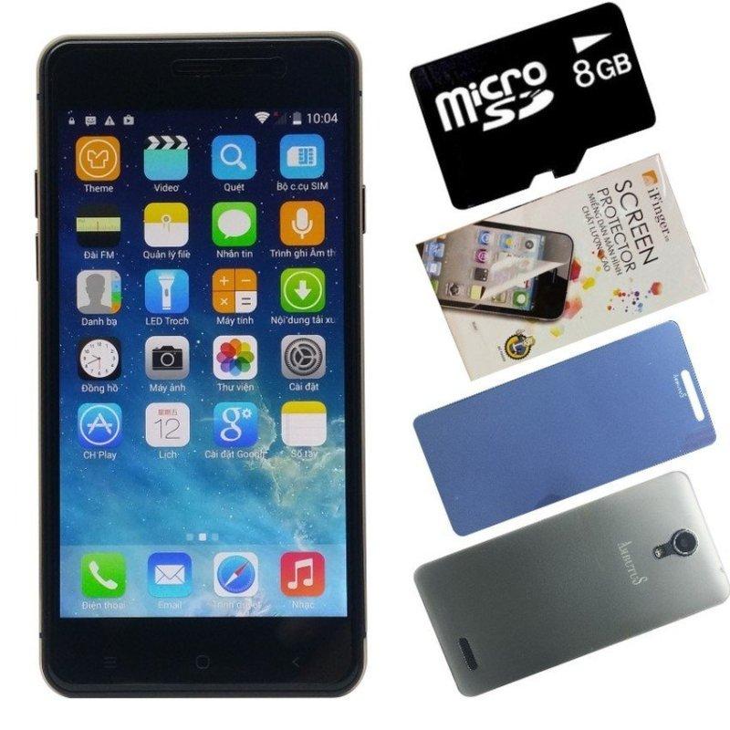 Bộ 1 ArbutuS Ar5 8GB (Đen) + 1 Kính cường lực + 1 Ốp lưng + 1 Thẻ nhớ 8GB - Hàng nhập khẩu