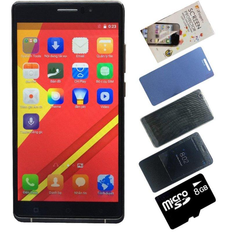 Bộ 1 Arbutus Ar6 8GB (Đen) +Thẻ nhớ 8GB + 1 Kính cường lực + 1 Bao da + 1 Ốp lưng + 1 Dán màn hình - Hàng nhập khẩu