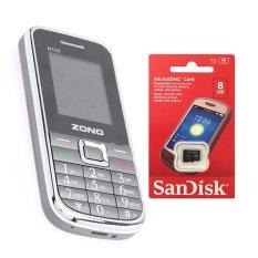 Trang bán Bộ 1 ĐTDĐ Zono N105 2 sim (Xám) + Thẻ nhớ MicroSD 8GB Class 4
