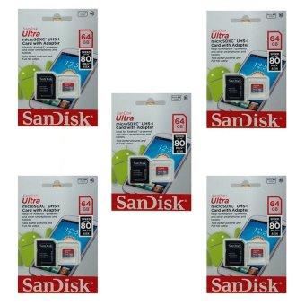 Bộ 5 thẻ nhớ MicroSDXC SanDisk Ultra 64GB 80MB/s (Xám)