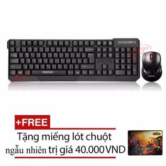 Bộ bàn phím chuột không dây Ensoho E-113CB (Đen) + Tặng kèm lót chuột