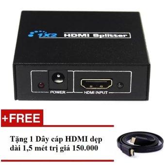 Bộ chia HDMI ra 2 cổng - HDMI Splitter 1x2 + Tặng Cáp HDMI dẹt dài 1.5m