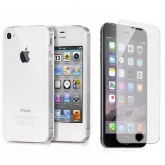 Bộ ốp lưng silicon và kính cường lực dành cho Iphone 4 4S