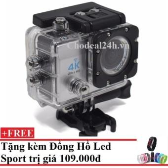 Camera hành động Waterproof 4K Sports WIFI LED 4K ULTRA HD DV (Bạc)++ Tặng Đồng hồ Leb Sport