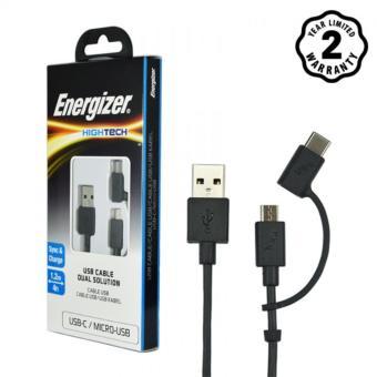 Cáp 2 trong 1 Type-C và Micro-USB Energizer Hightech 1.2m (Black)