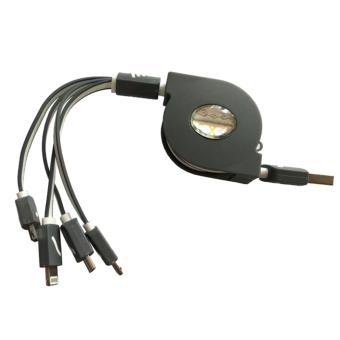 Cáp dây sạc đa năng dây rút 4 đầu chống rối (Xám)