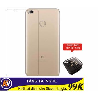 Combo kính cường lực + ốp silicon trong suốt + tai nghe cho Xiaomi Mimax 2