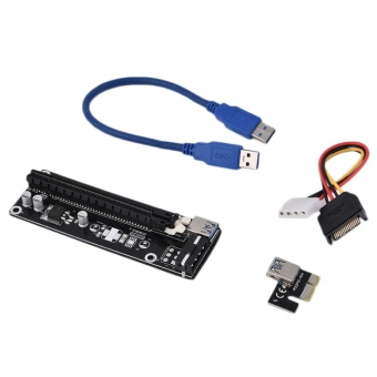 Computers Laptops Sata Cables Oh Pci-Express Pci-E 16X Extender Riser Karte Usb 3.0 Sata 15P-4Pin Adapter Black Usb3.0 16X - intl