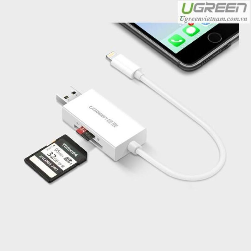 Bảng giá Đầu đọc thẻ nhớ SD / TF cho iPhone / iPad / iPod chuẩn MFi Ugreen 30612 cao cấp Phong Vũ