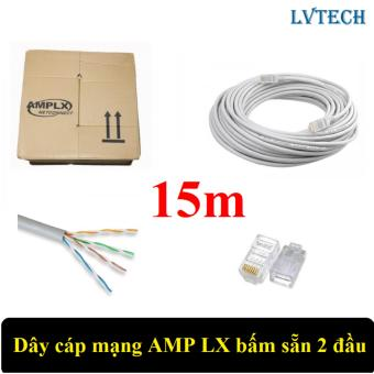 Dây cáp mạng AMPLX bấm sẵn 2 đầu 15m (Trắng)
