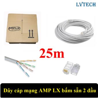 Dây cáp mạng AMPLX bấm sẵn 2 đầu 25m (Trắng)