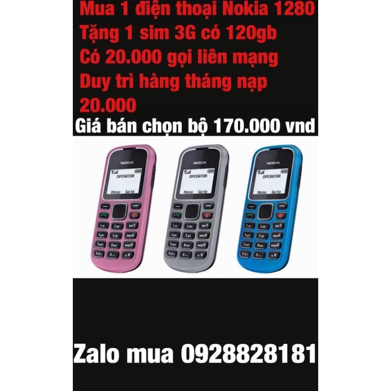 Điện thoại Nokia 1280 tặng kèm sim 3G có 120gb