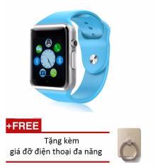 Đồng hồ thông minh Smart Watch A1 gắn sim độc lập (Xanh dương) + Tặng kèm giá đỡ điện thoại