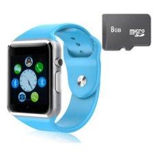 Đồng hồ thông minh Smart Watch AW08 gắn sim độc lập kèm thẻ nhớ 8GB (Xanh dương)