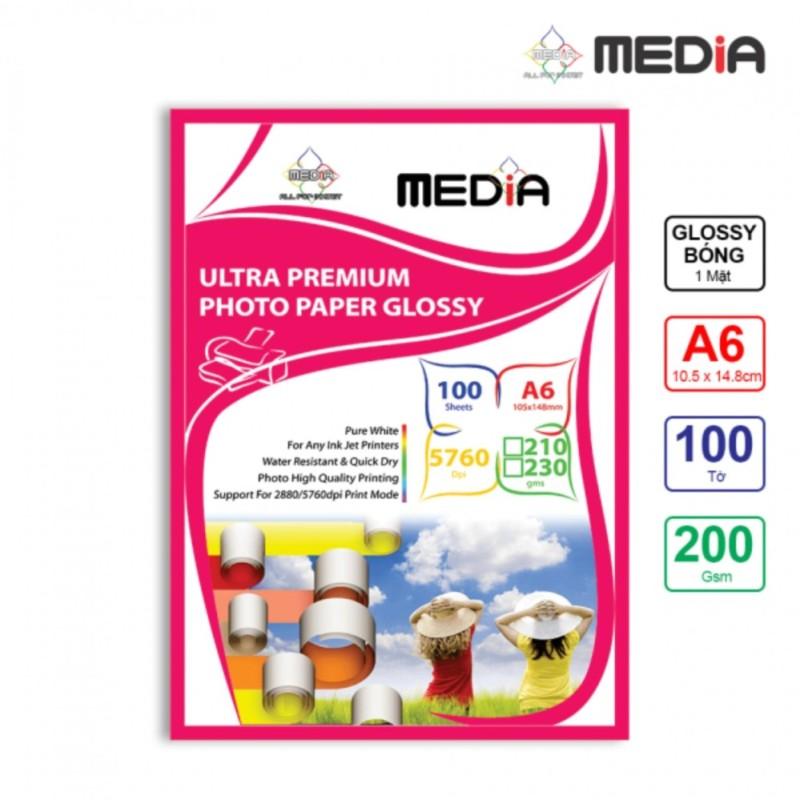 Giấy In Ảnh Media 1 Mặt Bóng (Glossy) A6 (10.5 x 14.8cm) 200gsm 100 Tờ