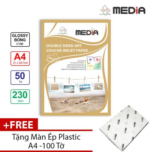 Bảng giá Giấy In Ảnh Media 2 Mặt Bóng (Glossy) A4 (21 x 29.7cm) 230gsm 50 tờ + Tặng Màn Ép Plastic 100 Tờ Phong Vũ