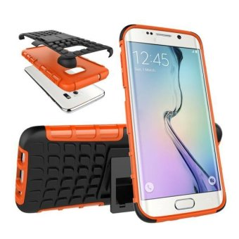 Hybrid Case Stand Shockproof Cover For Samsung Galaxy S7 Edge Orange - intl .