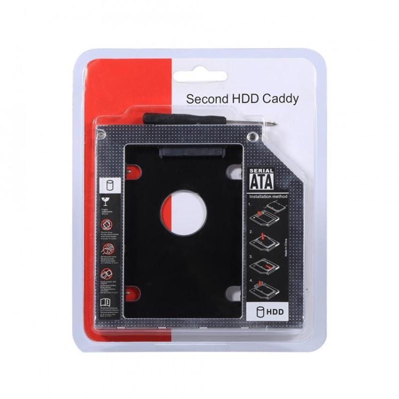 Bảng giá Justgogo 9.5mm Aluminum SATA HDD SSD Enclosure Hard Disk Drive Bay Caddy Optical DVD Adapter for Laptop - intl Phong Vũ