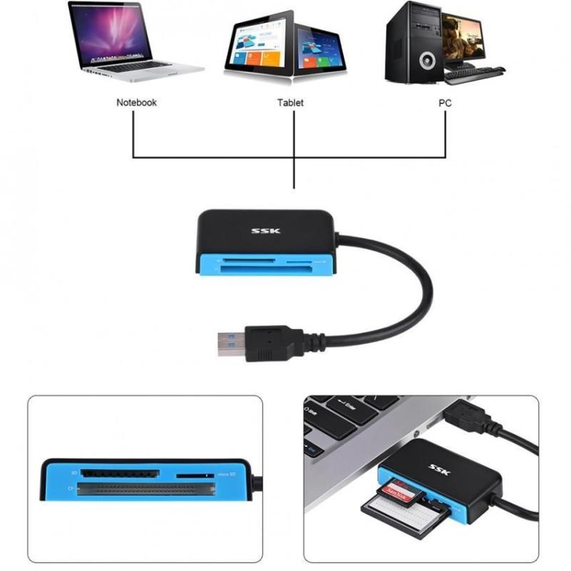 Bảng giá Justgogo SSK USB 3.0 High Speed Multi-In-One SD / TF / Micro SD Card Reader - intl Phong Vũ