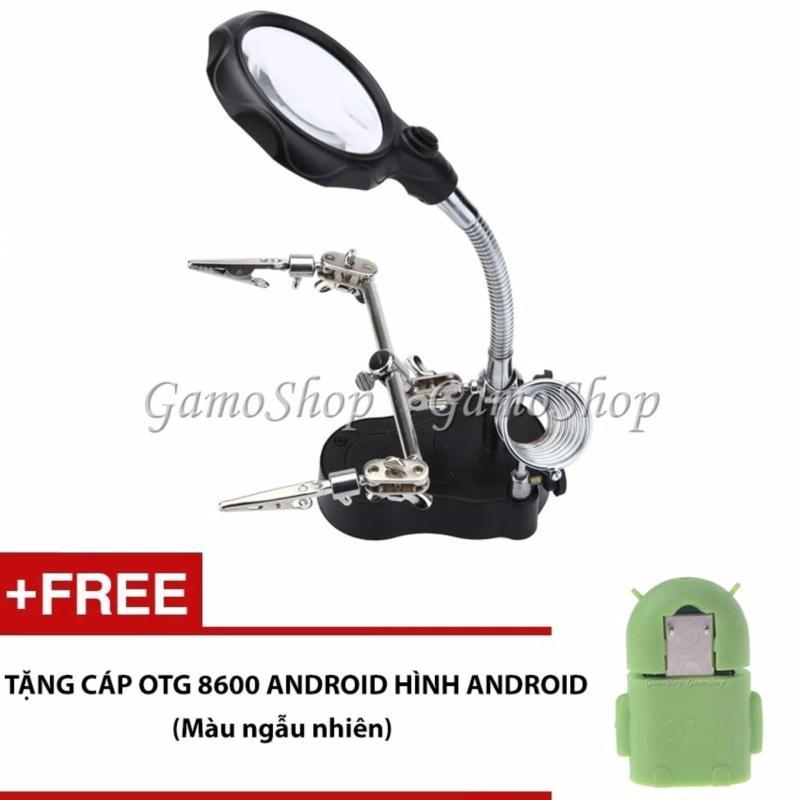 Bảng giá Kính lúp kẹp soi mạch điện đèn 2 Led và gác mỏ hàn + Tặng Cáp OTG Android Phong Vũ