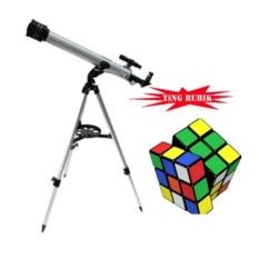 Bảng Báo Giá Kính thiên văn khúc xạ OEM D60F700 kèm chân đế điều chỉnh độ cao tặng kèm bộ xếp hình Rubik (Bạc)