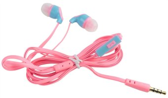 Leegoal 3.5mm Flat Noodle Shape In-ear Earphone (Pink) - intl